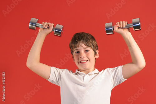 young boy workout fitness
