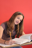 girl studying straight on vertical poster