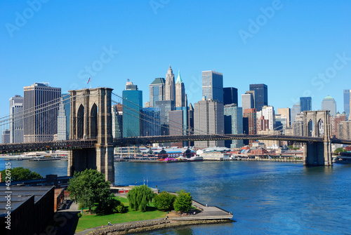 canvas print picture New York City Skyline and Brooklyn Bridge