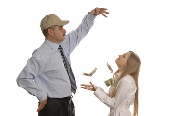 a man and a woman with money