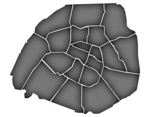 Carte Arrondissements Paris Noir