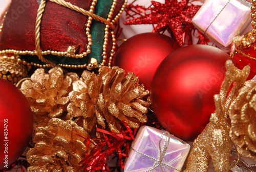 Group of Christmas ornaments and baubles as background