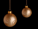 Gold Christmas baubles with glitter decoration poster