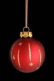 Red sparkly Christmas bauble against black background poster