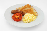 English breakfast of scrambled eggs, sausage, toast and tomato poster