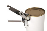 Can opener attached to a tin poster