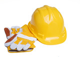 Industrial Hardhat and gloves poster