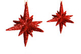 Two Christmas glitter star ornaments poster