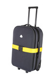 Suitcase with locked luggage strap poster