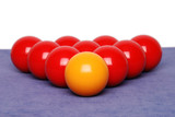 Snooker balls arranged in a triangle  poster