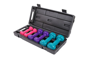 Cased set of colourful dumbbell weights