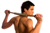 Young bodybuilder training with power twister poster