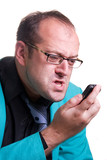 Frustrated manager wearing glasses yelling at the mobile phone poster
