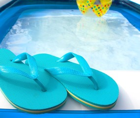 flip flops by the pool