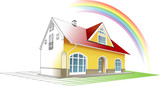 Dream home coming true and colorful, rainbow. Vector clipart poster