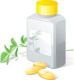 Herbal pills, flack. Medical, health, pharmacy. Vector  poster
