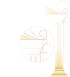 Architecture sketch of ancient Greek style column. poster