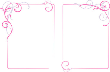 Abstract floral ornaments frame, pink, vector