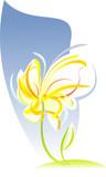Artistic flower sketch. Vector illustration poster