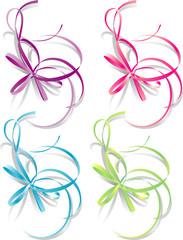 Decorative gift ribbon: blue, pink, green, purple. Vector