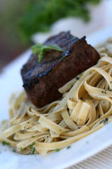 Steak over Pasta