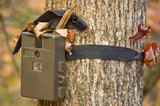 camera  attached to a tree, used by hunters to spy wild animals  poster