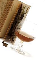 Brandy glass with book