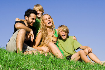 happy, healthy, young,family laughing smiling fun outdoors