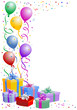 Multicolored birthday balloons with gifts boxes