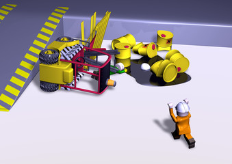transportation accident with 3d toys
