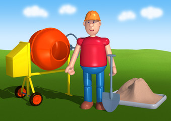 3d toy worker with a cement mixer