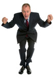 Businessman jumping for joy. poster