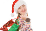 young  christmas girl in red hat with package poster