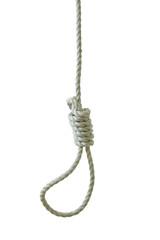 Hanging noose isolated on white background