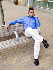 hispanic businessman talking on phone