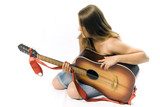 topless with guitar poster