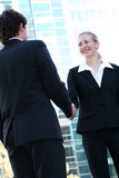Businesspeople shaking hands poster