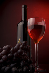 red wine glass bottle grape