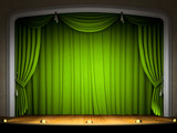 Empty stage with green curtain in expectation of perfomance poster