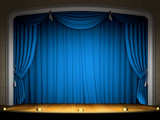 Empty stage with blue curtain in expectation of performance poster