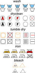 Icon set of laundry symbols