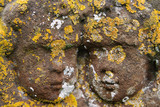 Close up of two carved cherub heads from 18th Century headstone  poster
