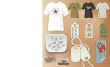 mans fashion elements, t-shirt, buckle, dog tag, stickers poster