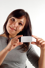 woman with business card  #8