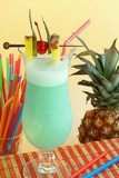Summer recreational drink with cherry and pineapple poster