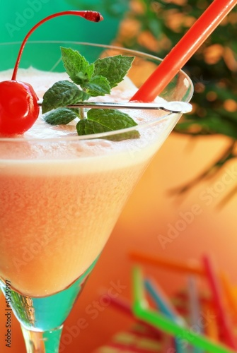 Alcoholic summer recreational with cherry