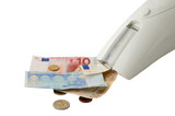 Vacuum cleaner sucking euro banknotes and change poster