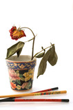 Chopsticks and vase with wilted rose poster