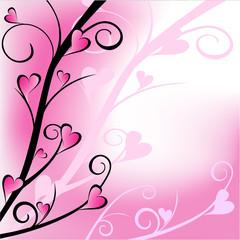 Fond rose - lignes courbes et coeurs