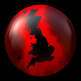 map of Great Britain on red sphere poster